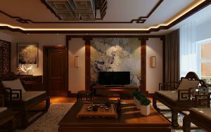 江山如画中式风格三居家装效果图