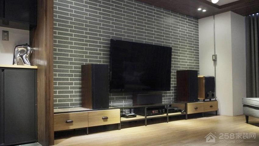 客厅灰色砖形电视墙效果图