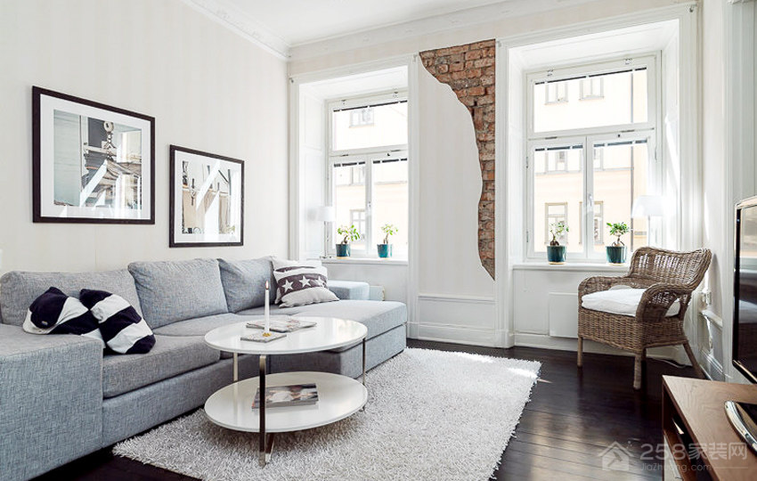 客厅布艺灰色沙发图片