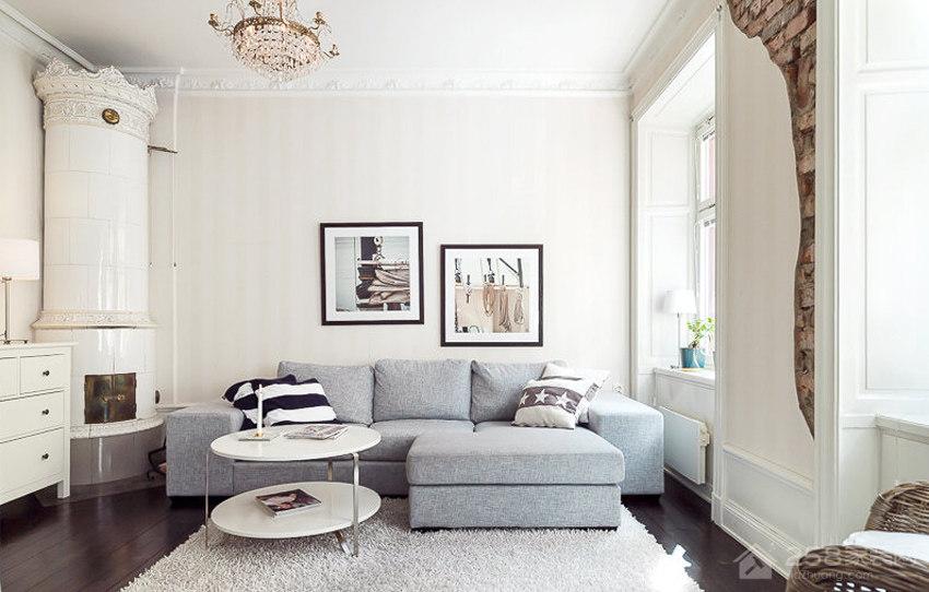 时尚客厅白色背景墙图片