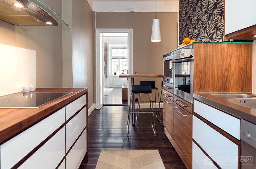 厨房棕色实木橱柜效果图