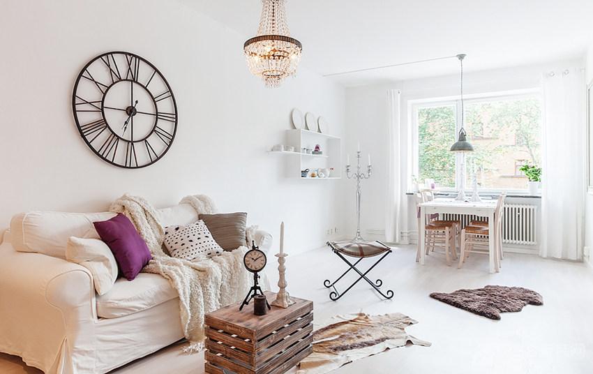 现代客厅白色背景墙图片
