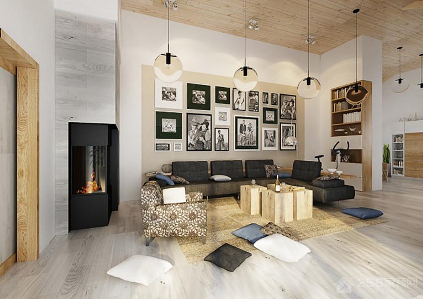 现代客厅时尚背景墙效果图