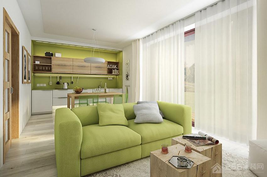 现代客厅布艺窗帘效果图