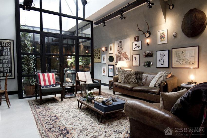 复古风客厅皮质沙发效果图