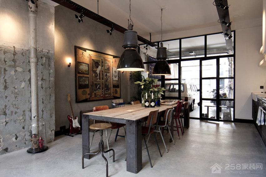工业风餐厅铁艺吊灯图片
