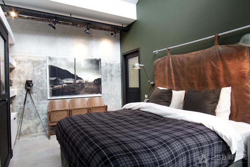 复古卧室双人床效果图