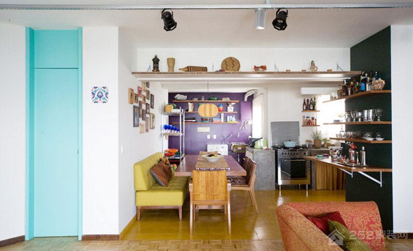客厅原木色六人长餐桌图片