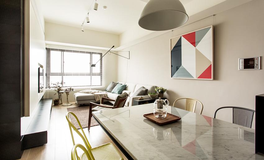 台北28 坪清新感简约风公寓装修效果图