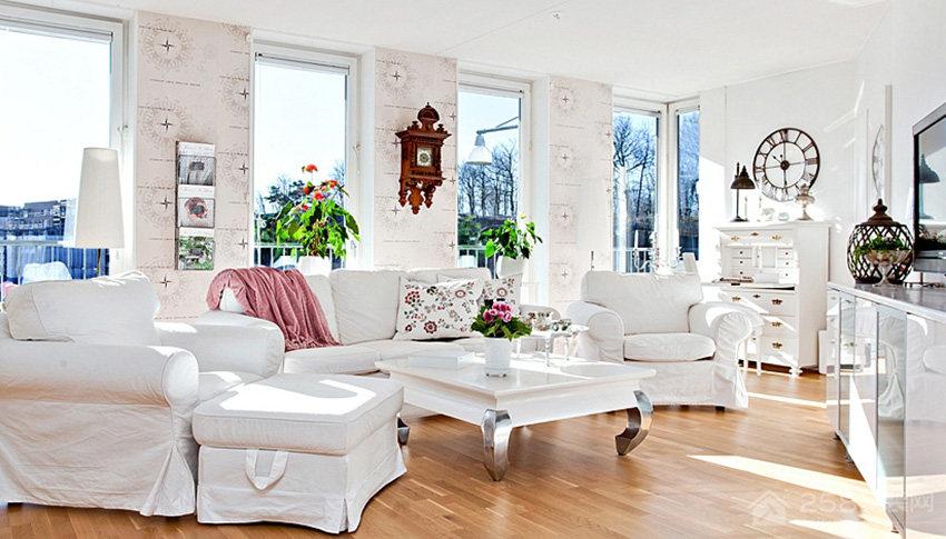 乡村风客厅现代白色布艺沙发效果图