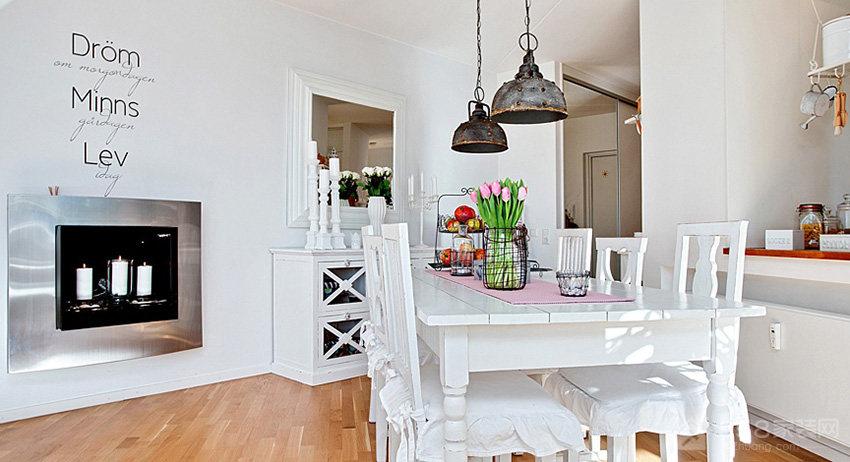 纯白乡村风餐厅白色家庭餐桌椅图片