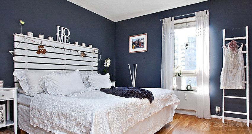 乡村风格卧室布艺床效果图
