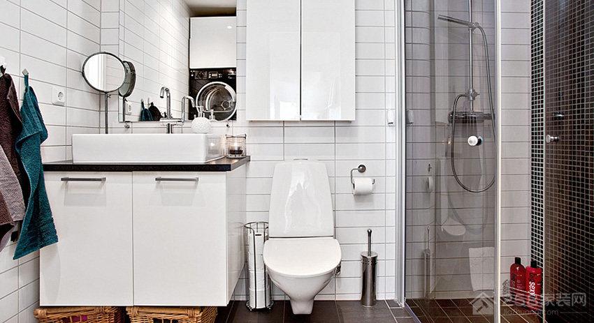 简约乡村风卫生间白色浴室柜图片