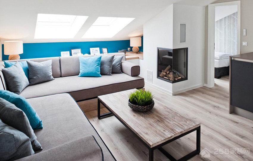 现代风客厅灰色布艺沙发效果图