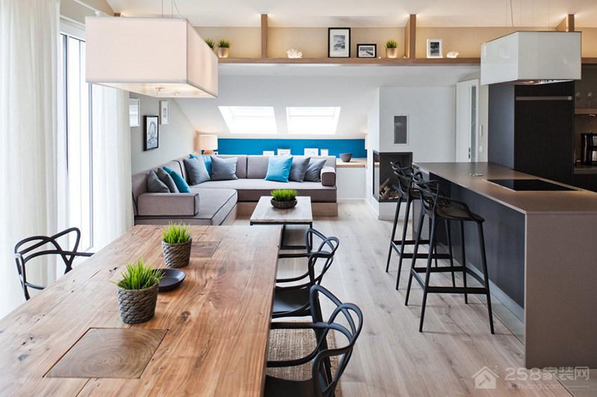 现代风公寓餐厅六人原木色长餐桌展示图