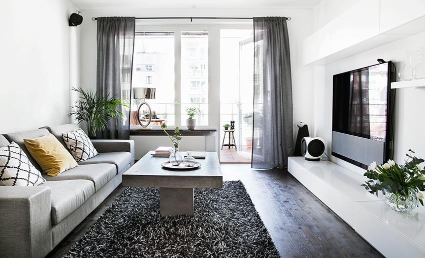瑞典26 坪黑白简约风公寓装修效果图