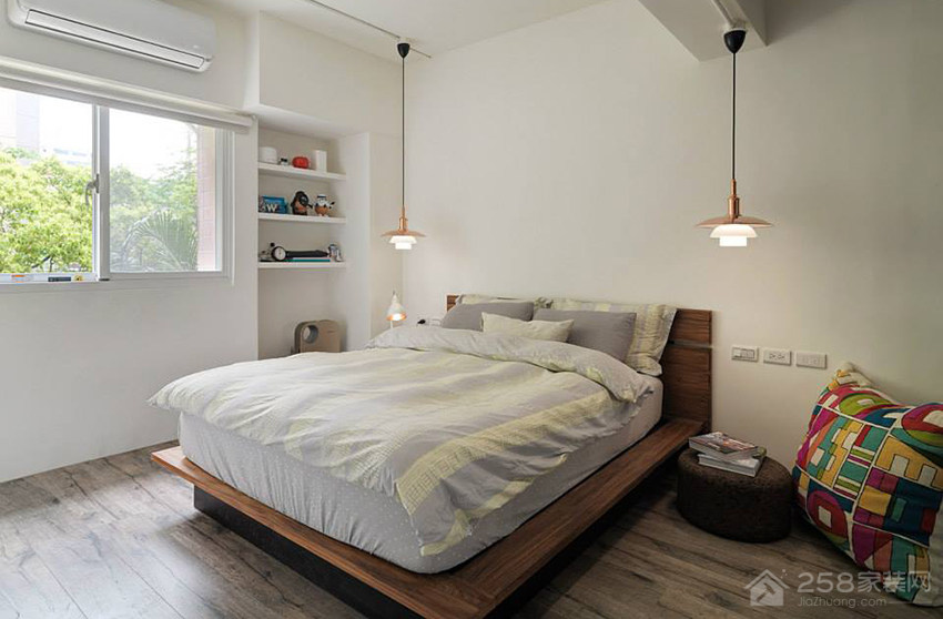 北欧风公寓卧室双人床展示图