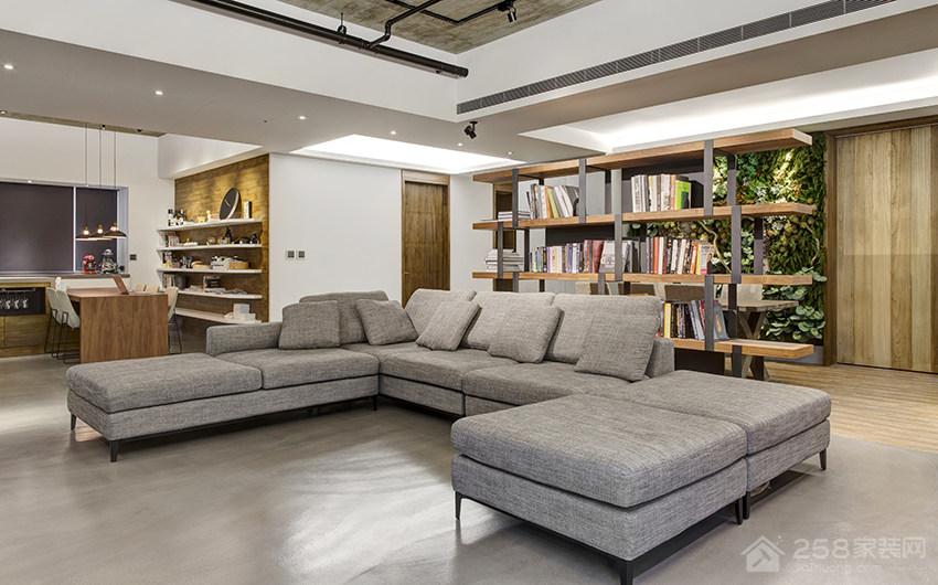 时尚工业风客厅灰色布艺沙发组合效果图