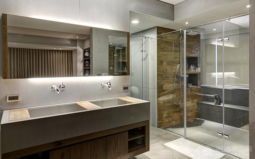 现代工业风卫生间原木色实木浴室柜效果图