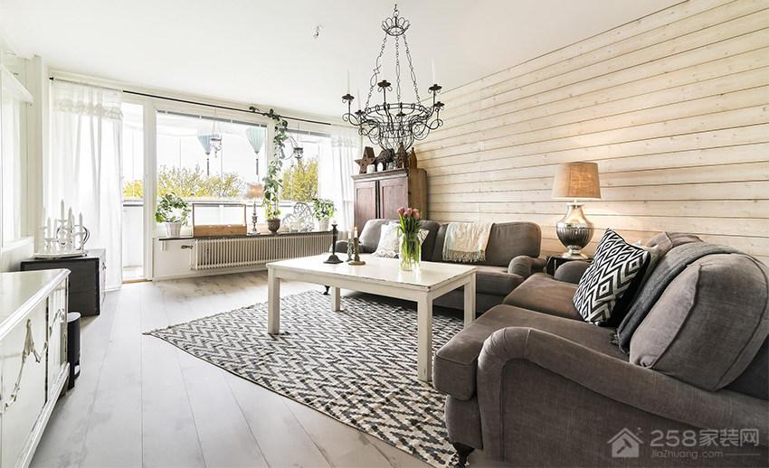 时尚乡村风客厅灰色现代布艺沙发图片