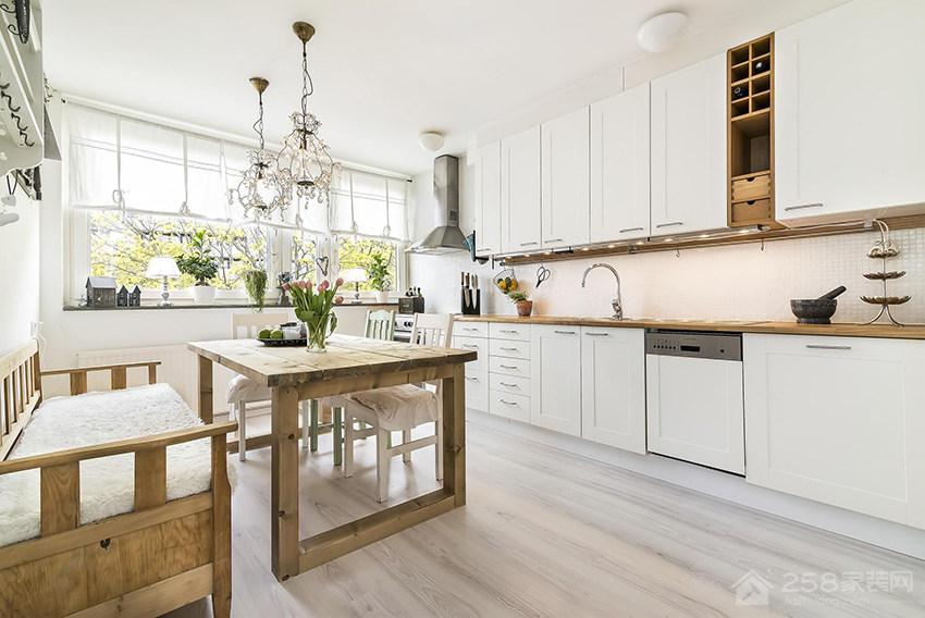 现代乡村风厨房白色简约橱柜门板展示图