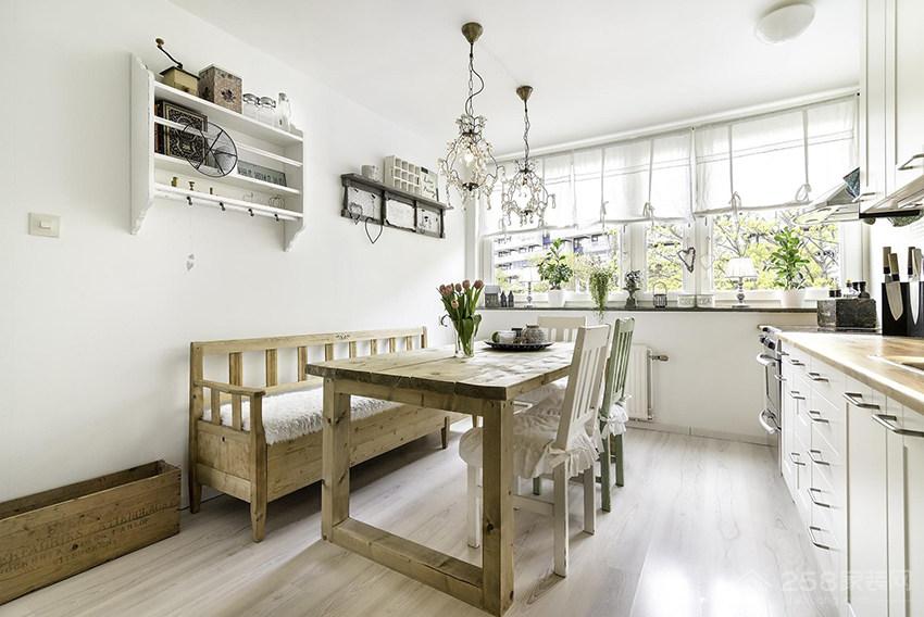 乡村风亲子公寓餐厅原木色家庭餐桌椅图片