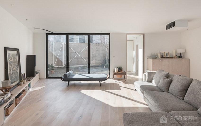 现代极简无印风客厅灰色布艺沙发图片