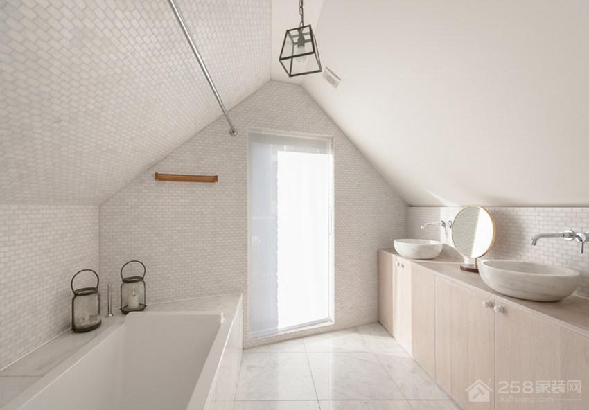 极简无印风住宅卫生间原木色实木浴室柜图片