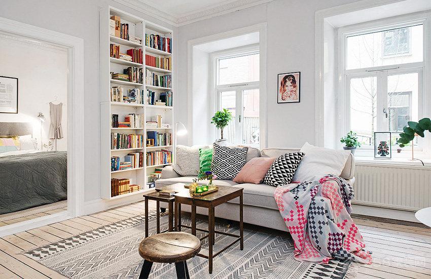 现代北欧风客厅灰色布艺沙发图片