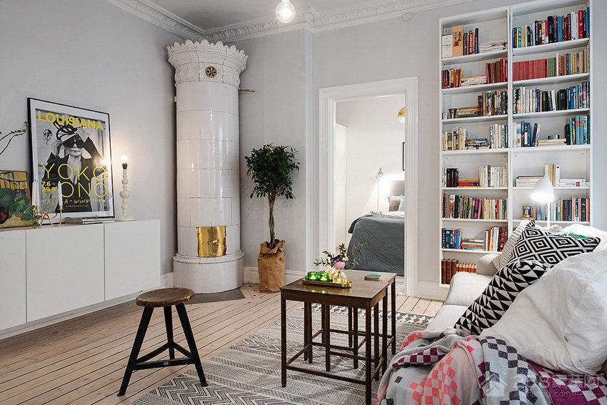 北欧风单身公寓客厅白色实木书柜效果图