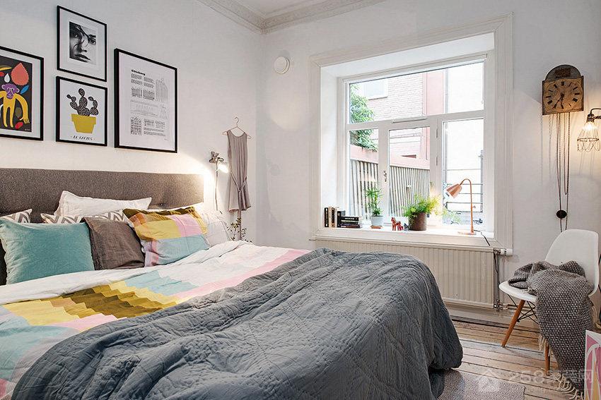 现代时尚北欧风卧室双人床效果图