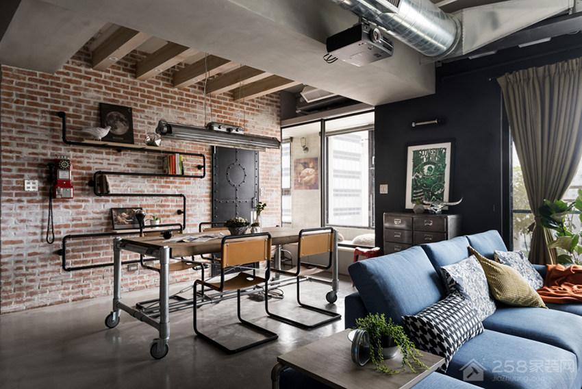 复古风客厅蓝色现代布艺沙发展示图