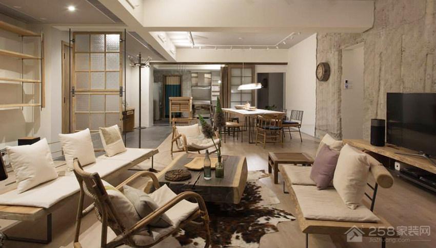 现代自然风客厅米色布艺沙发效果图