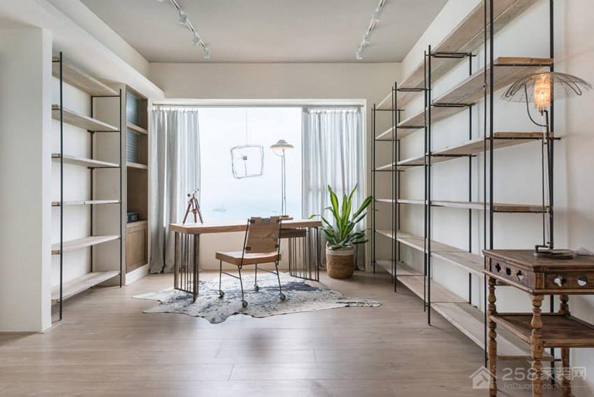 现代书房简约实木书柜展示图