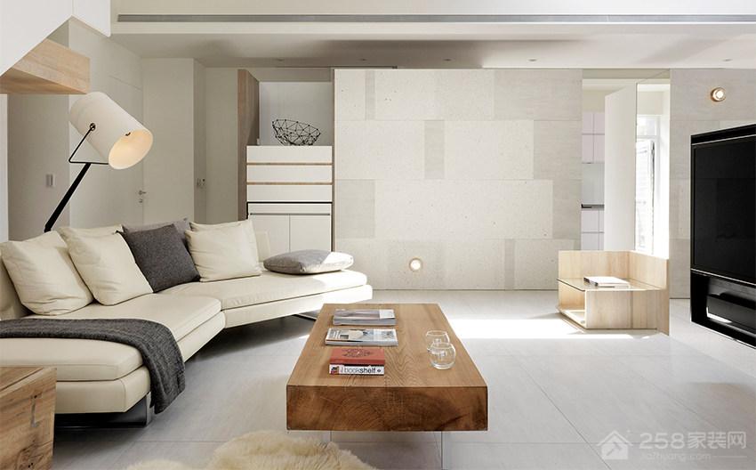 现代风光影宅客厅现代布艺米色效果图