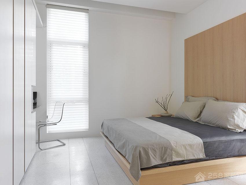 纯白现代风光影宅卧室板式床图片