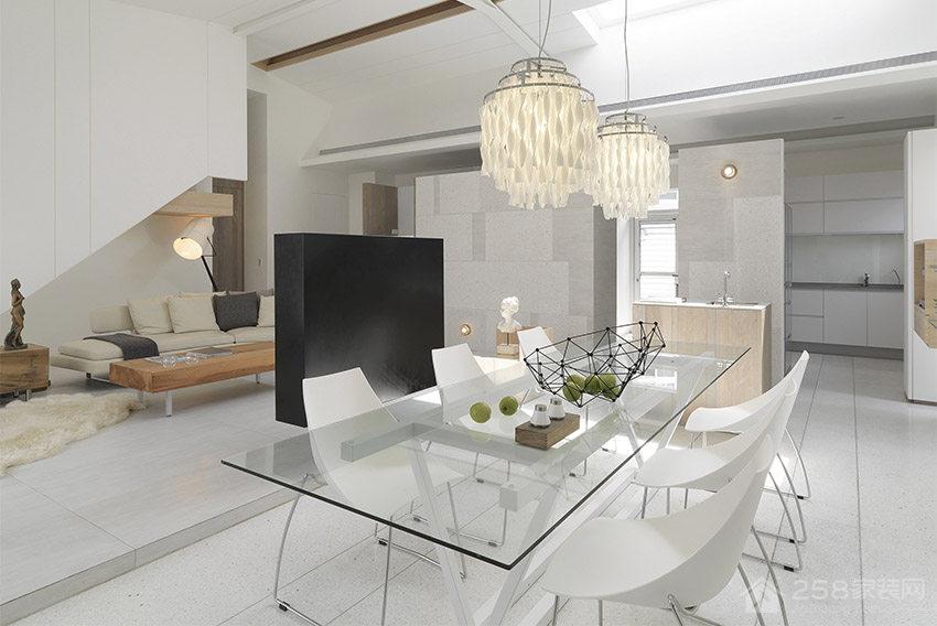 纯白现代风光影宅餐厅家庭餐桌椅图片