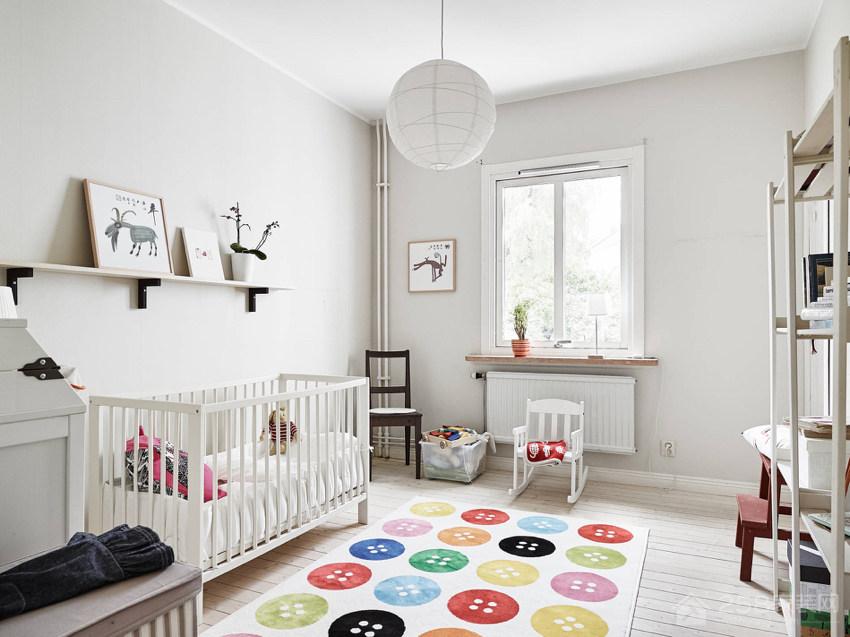 明亮清爽亲子公寓儿童房白色简约实木床图片