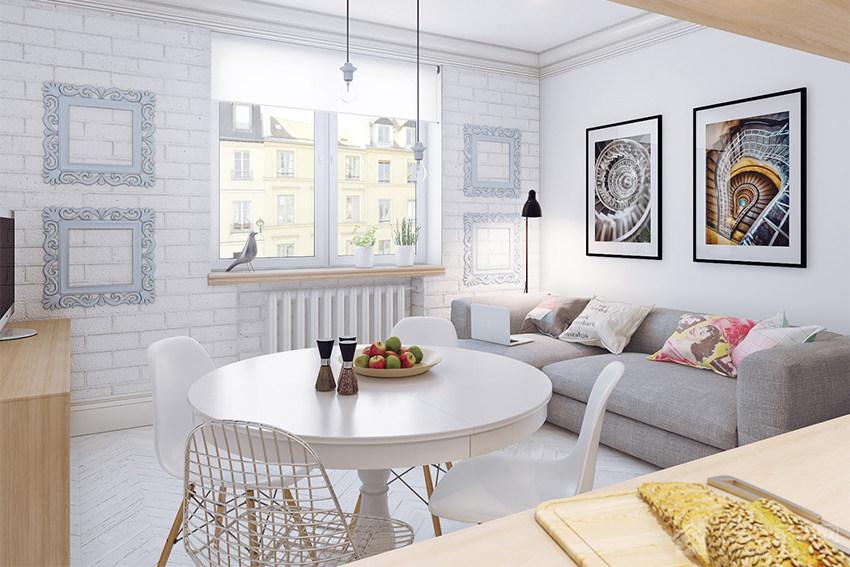 北欧风小公寓客厅现代灰色布艺沙发图片