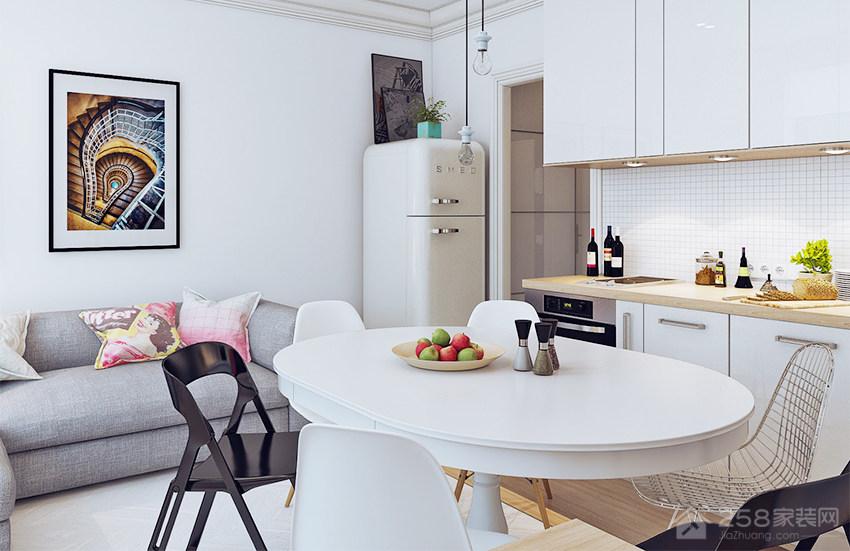 北欧风餐厅白色四人圆餐桌展示图