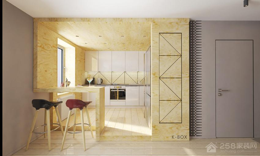 时尚单身公寓厨房原木色展示图