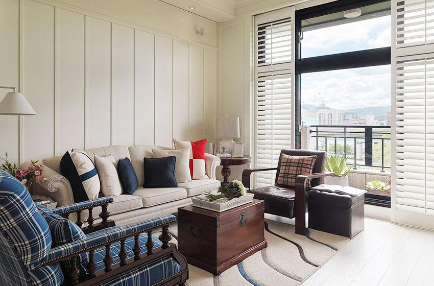 美式渡假公寓客厅现代布艺米色沙发效果图