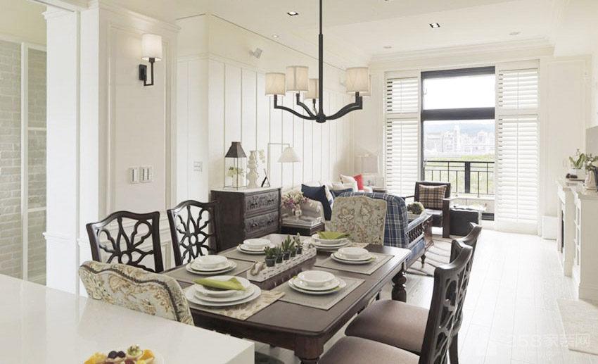 美式渡假公寓餐厅家庭餐桌椅展示图