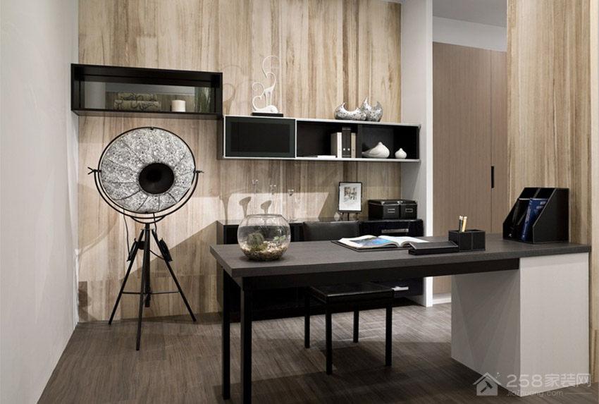 现代简约黑色实木书桌效果图