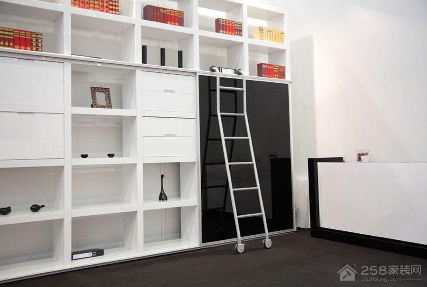 现代时尚书房白色书柜展示图