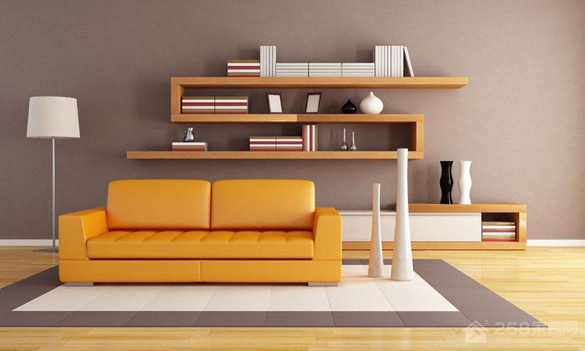 现代时尚客厅背景墙置物架效果图