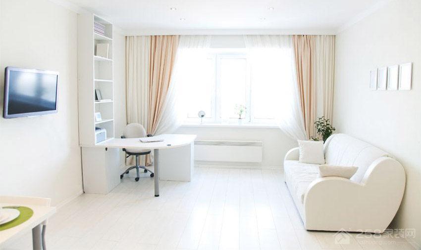 客厅现代白色布艺沙发效果图