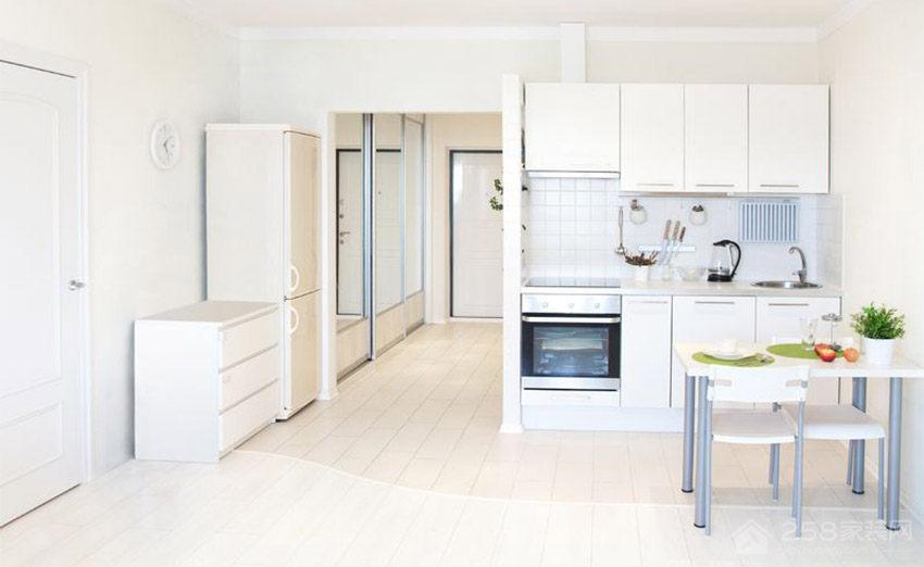 小清新厨房白色橱柜门板展示图