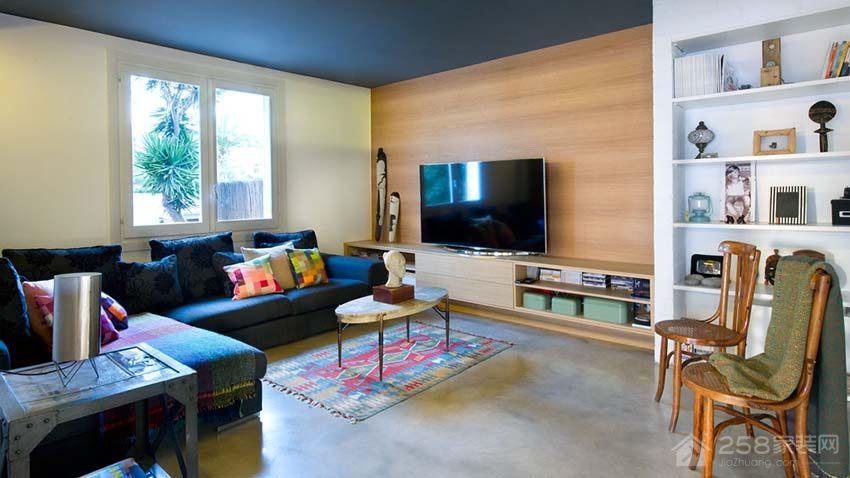 开放式现代简约住宅客厅原木色电视墙图片