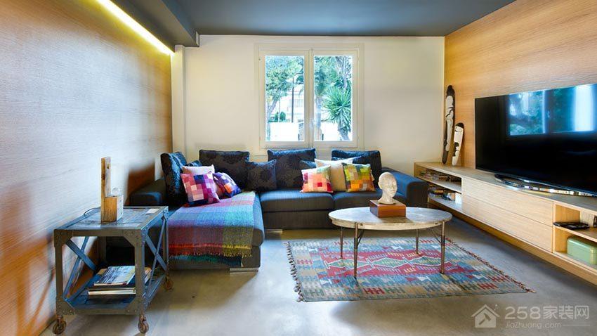 现代简约住宅客厅布艺沙发展示图